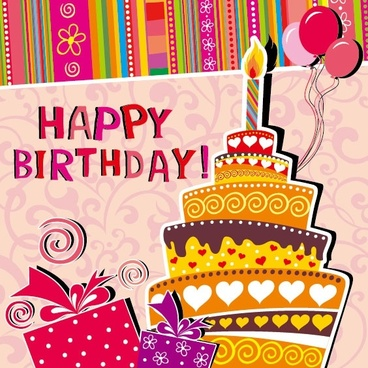 cartoon birthday card 03 vector
