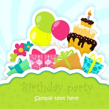 cartoon birthday card 05 vector