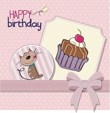 cartoon birthday cards 01 vector
