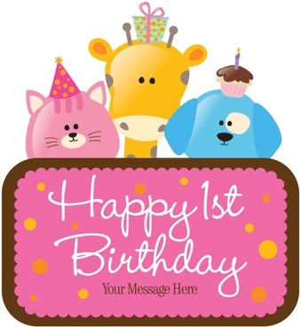 cartoon birthday cards 02 vector