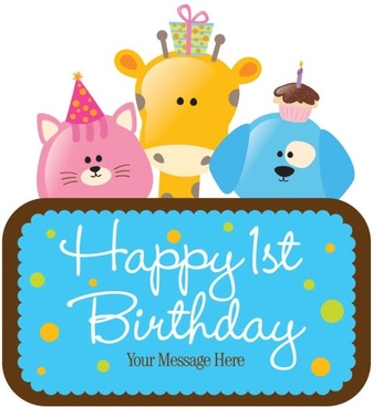 cartoon birthday cards 03 vector