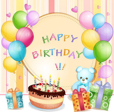 cartoon birthday cards design vector