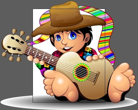 cartoon boy and guitar design vector