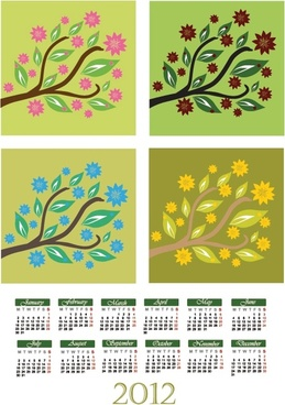 cartoon branches calendar 01 vector
