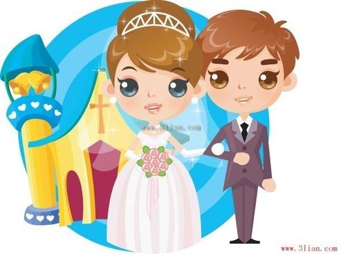 cartoon bride and groom vector