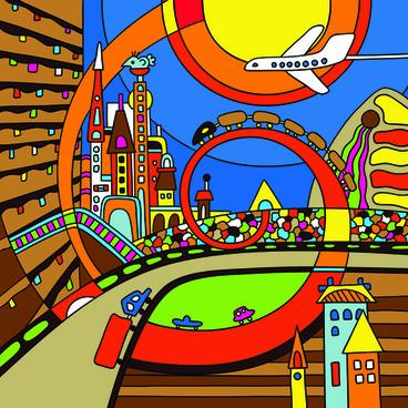 cartoon bright color illustration vector graphics