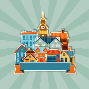 cartoon building background vector