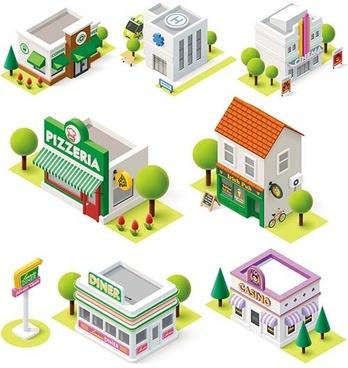 cartoon building models shiny vector