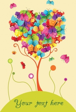 nature background butterflies tree icons colorful heart layout