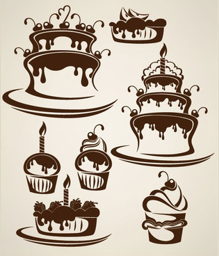 cartoon cake elements silhouettes vector