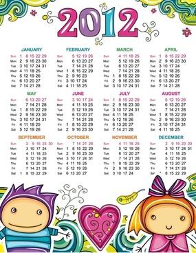 cartoon calendar 2012 01 vector