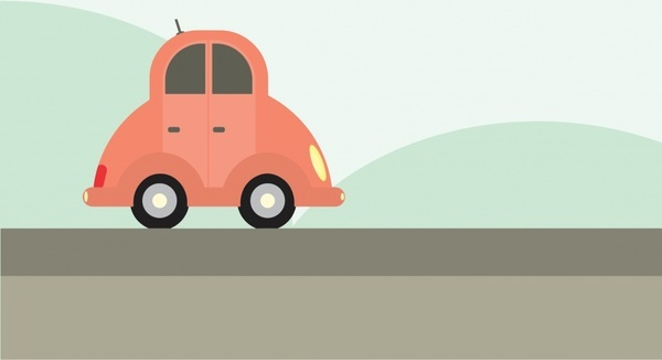 cartoon car and landscape vector illustration