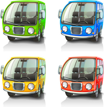cartoon car cute vector graphics set