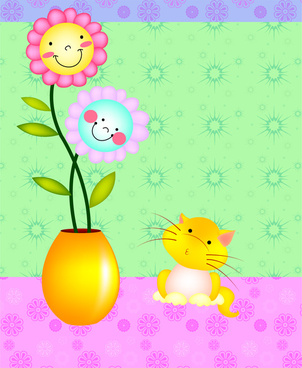 cartoon cat and flower
