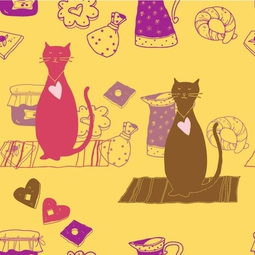 cartoon cat background 03 vector