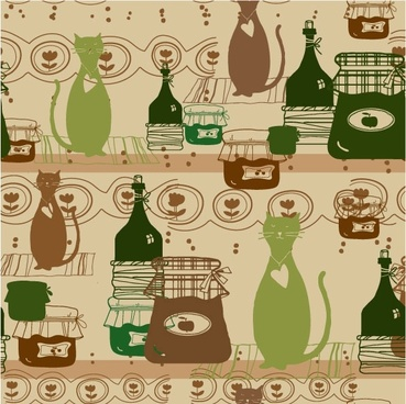 cartoon cat background 05 vector