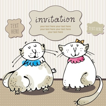 cartoon cat cards 02 vector