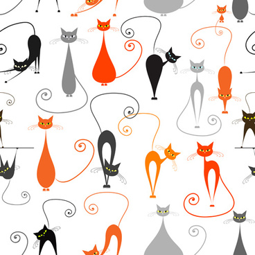 cartoon cat seamless pattern vector graphic