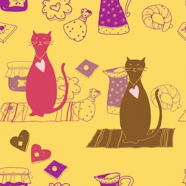 decorative background cats objects sketch retro flat handdrawn