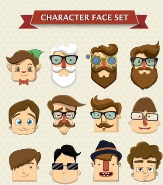 cartoon character face vector set
