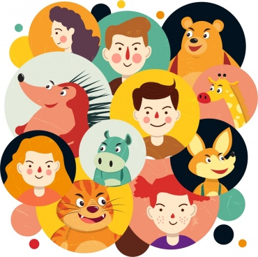 cartoon characters avatars human animals icons