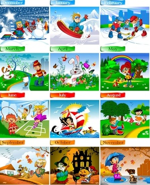 cartoon characters calendar 01 vector
