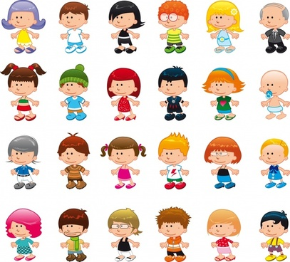 people icons collection cute cartoon characters