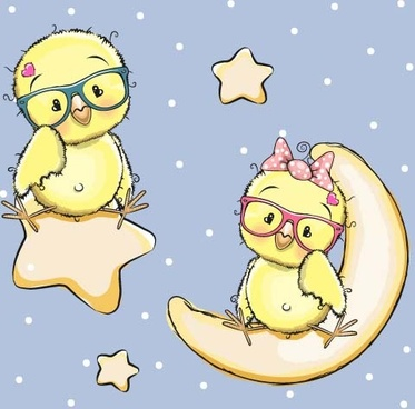 cartoon chick with stars and moon card vector