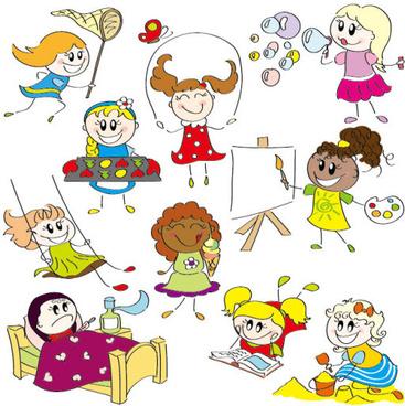 Cartoon child elements illustration vector