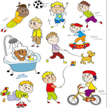 cartoon child elements illustration vector