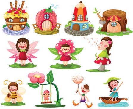 Cartoon child elements vector set
