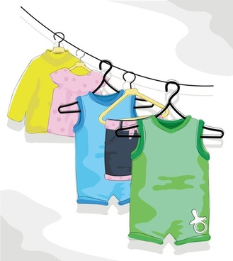 cartoon children39s clothing 02 vector