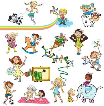 cartoon children 01 vector