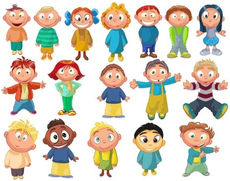cartoon children 03 vector