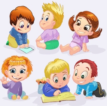 cartoon children 04 vector