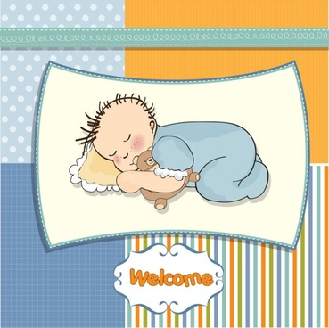 cartoon children card 02 vector