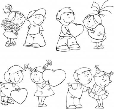 love icons cute kids sketch handdrawn design