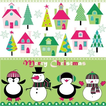 cartoon christmas background 03 vector
