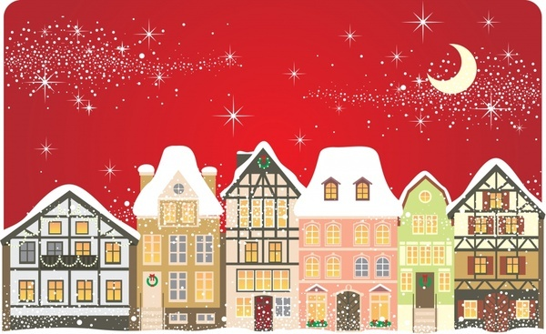 cartoon christmas background vector house