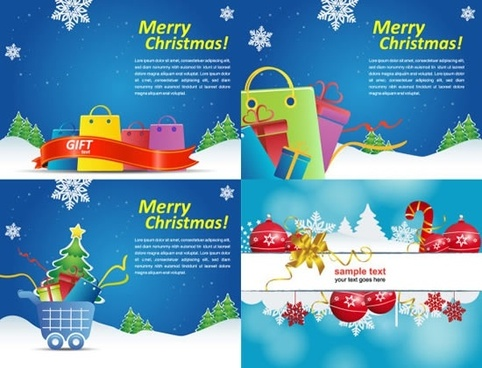 xmas banner templates bright colorful flat sketch