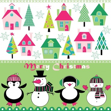 cartoon christmas background vector pattern cute