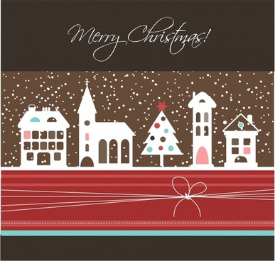 cartoon christmas background with snowflakes vector castle