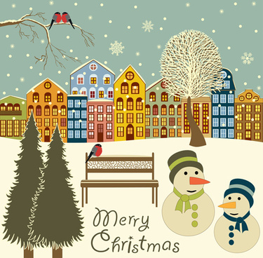 cartoon christmas city design vector