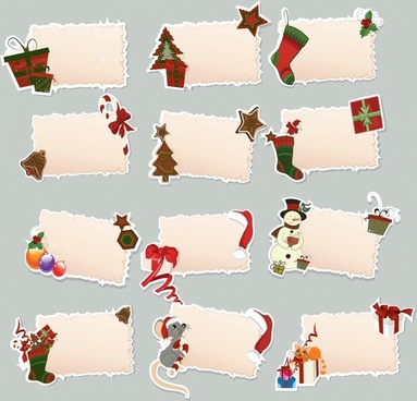 cartoon christmas element tag vector