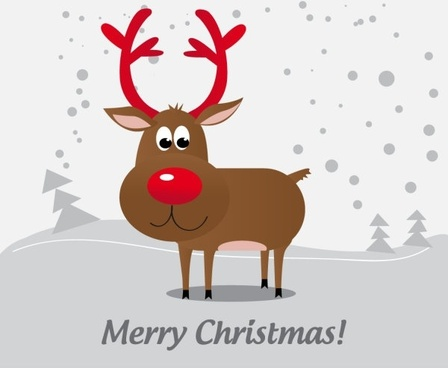 cartoon christmas elk 05 vector