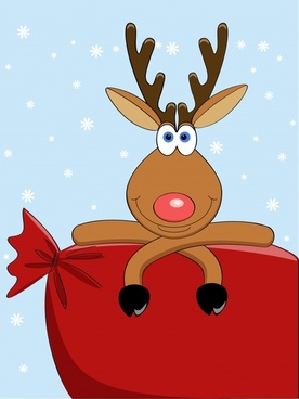 cartoon christmas elk vector illustration
