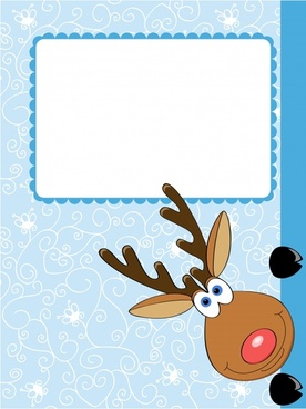 cartoon christmas elk winter illustration vector