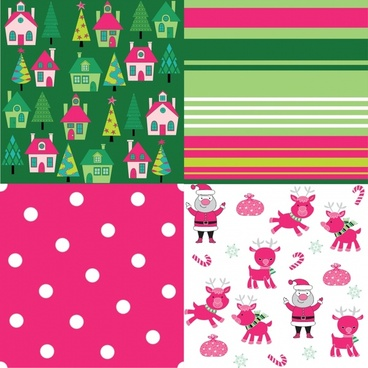 cartoon christmas festive background pattern vector