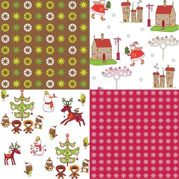 cartoon christmas floral background vector illustration