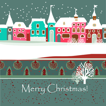 cartoon christmas house and snow vector